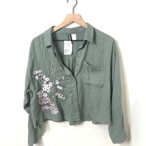Casual Olive Green Blossom Embroidery Loose Too
